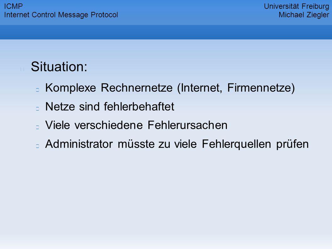 Situation: Komplexe Rechnernetze (Internet, Firmennetze) Netze sind fehlerbehaftet Viele verschiedene Fehlerursachen Administrator müsste zu viele Fehlerquellen prüfen Universität Freiburg Michael Ziegler ICMP Internet Control Message Protocol