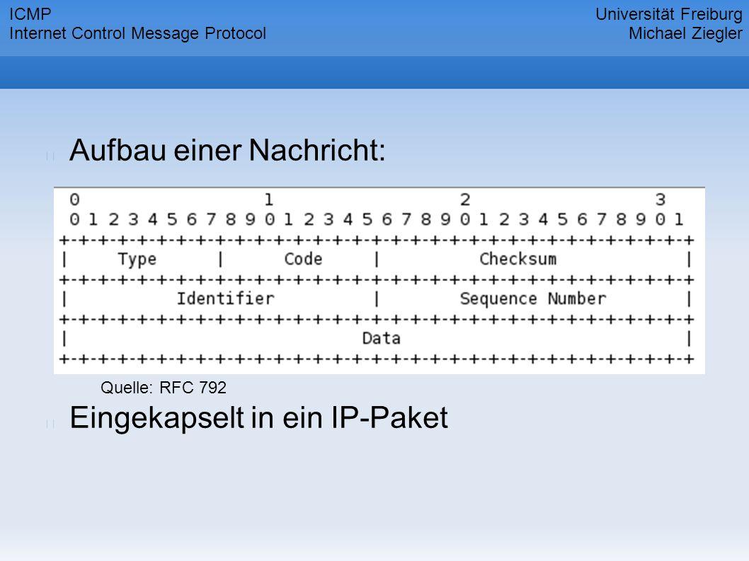 Aufbau einer Nachricht: Eingekapselt in ein IP-Paket Universität Freiburg Michael Ziegler ICMP Internet Control Message Protocol Quelle: RFC 792