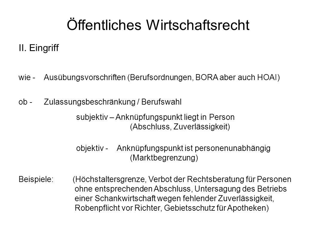 Öffentliches Wirtschaftsrecht II. Eingriff wie -Ausübungsvorschriften (Berufsordnungen, BORA aber auch HOAI) ob -Zulassungsbeschränkung / Berufswahl s