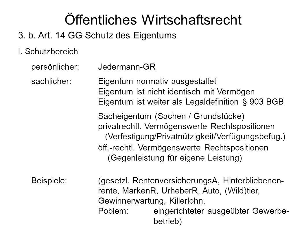 Öffentliches Wirtschaftsrecht 3. b. Art. 14 GG Schutz des Eigentums I. Schutzbereich persönlicher:Jedermann-GR sachlicher:Eigentum normativ ausgestalt