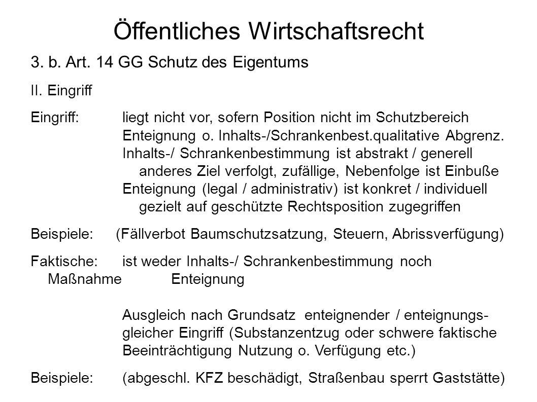 Öffentliches Wirtschaftsrecht 3. b. Art. 14 GG Schutz des Eigentums II. Eingriff Eingriff:liegt nicht vor, sofern Position nicht im Schutzbereich Ente