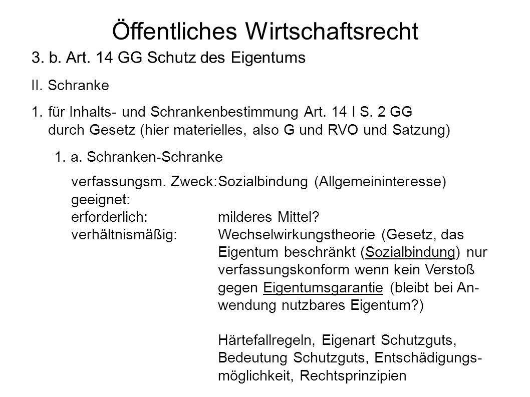 Öffentliches Wirtschaftsrecht 3. b. Art. 14 GG Schutz des Eigentums II. Schranke 1.für Inhalts- und Schrankenbestimmung Art. 14 I S. 2 GG durch Gesetz