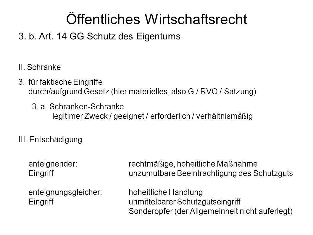 Öffentliches Wirtschaftsrecht 3. b. Art. 14 GG Schutz des Eigentums II.