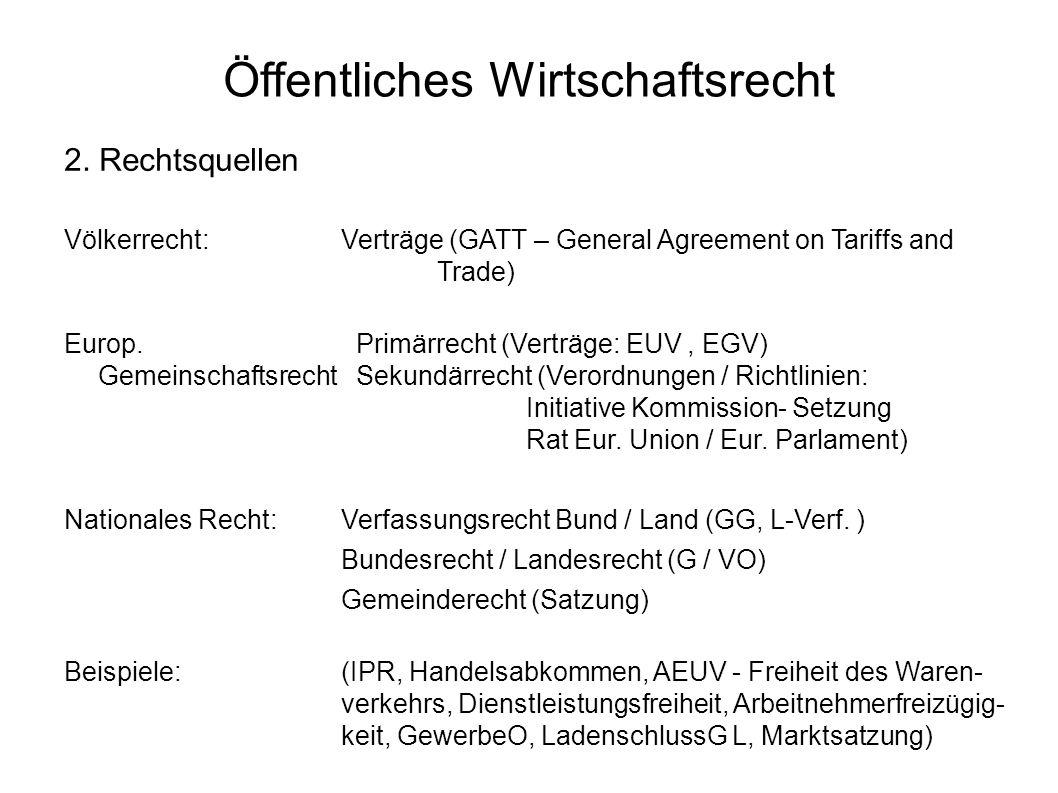 Öffentliches Wirtschaftsrecht 2. Rechtsquellen Völkerrecht:Verträge (GATT – General Agreement on Tariffs and Trade) Europ. Primärrecht (Verträge: EUV,