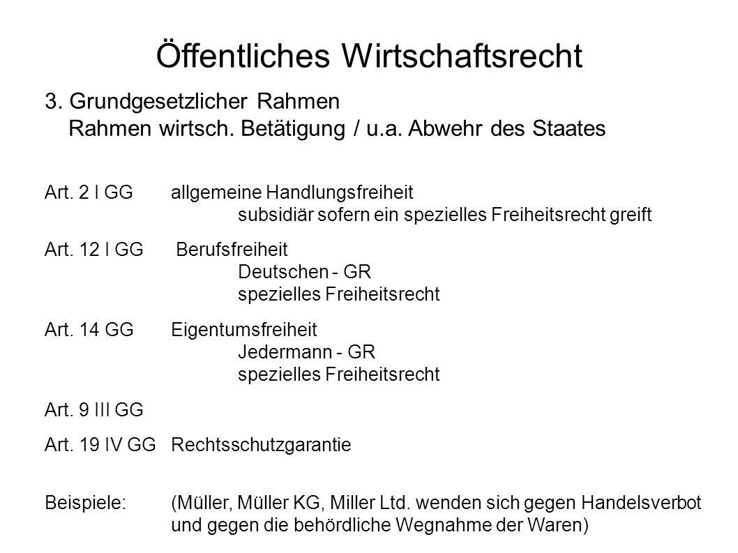Öffentliches Wirtschaftsrecht 3. Grundgesetzlicher Rahmen Rahmen wirtsch. Betätigung / u.a. Abwehr des Staates Art. 2 I GG allgemeine Handlungsfreihei