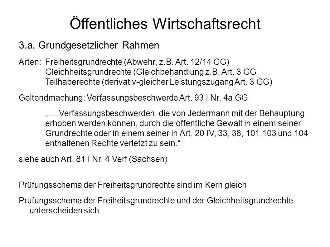 Öffentliches Wirtschaftsrecht 3.a. Grundgesetzlicher Rahmen Arten:Freiheitsgrundrechte (Abwehr, z.B. Art. 12/14 GG) Gleichheitsgrundrechte (Gleichbeha