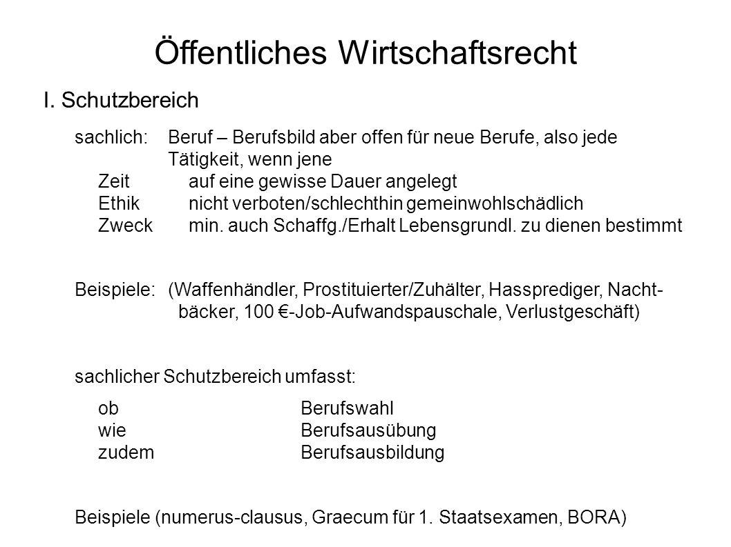 Öffentliches Wirtschaftsrecht I.