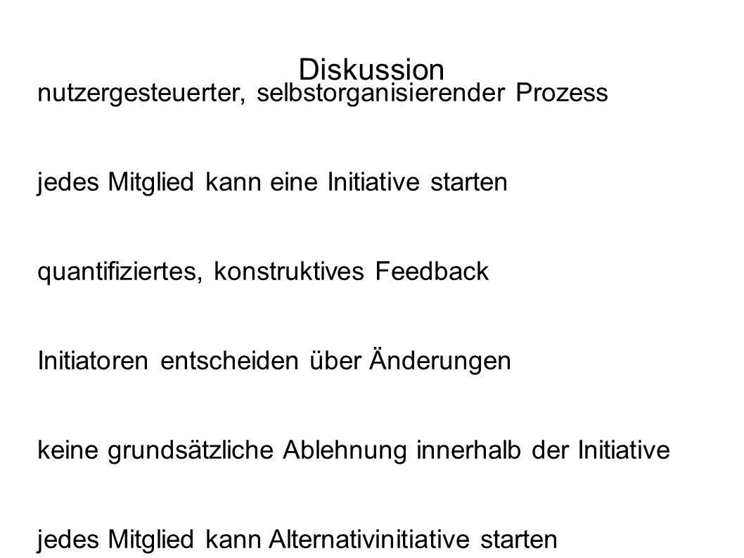 Diskussion nutzergesteuerter, selbstorganisierender Prozess jedes Mitglied kann eine Initiative starten quantifiziertes, konstruktives Feedback Initia