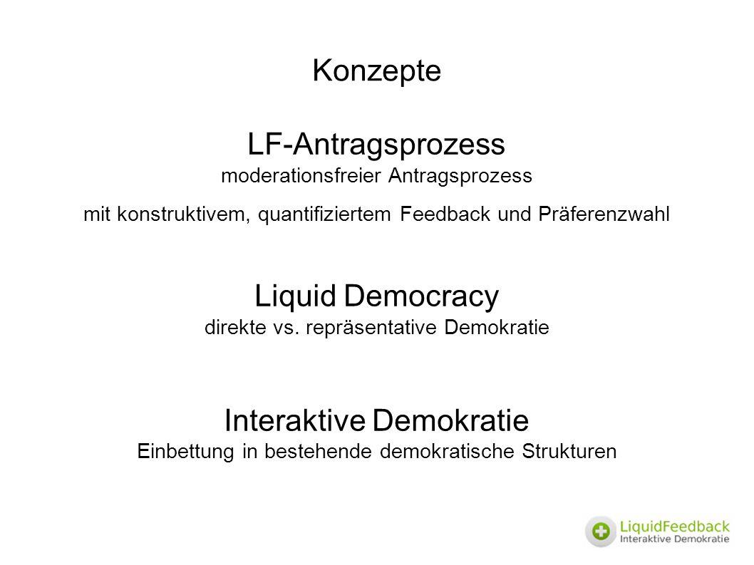 Konzepte LF-Antragsprozess moderationsfreier Antragsprozess mit konstruktivem, quantifiziertem Feedback und Präferenzwahl Liquid Democracy direkte vs.