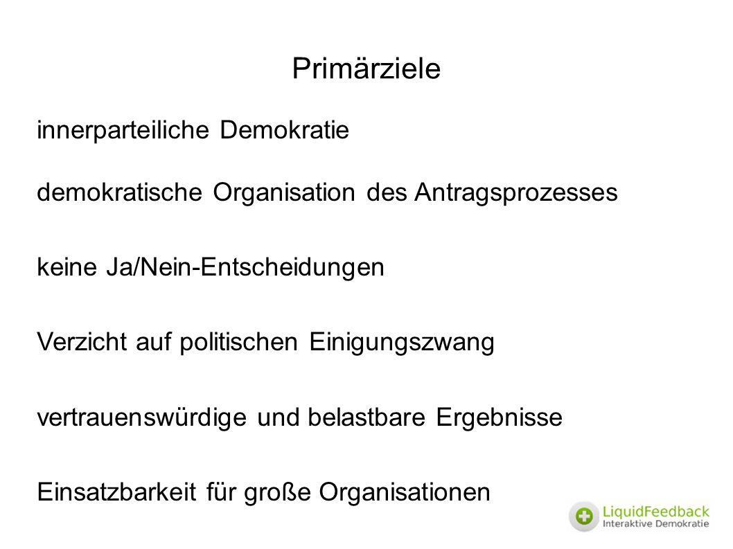 Primärziele innerparteiliche Demokratie demokratische Organisation des Antragsprozesses keine Ja/Nein-Entscheidungen Verzicht auf politischen Einigung
