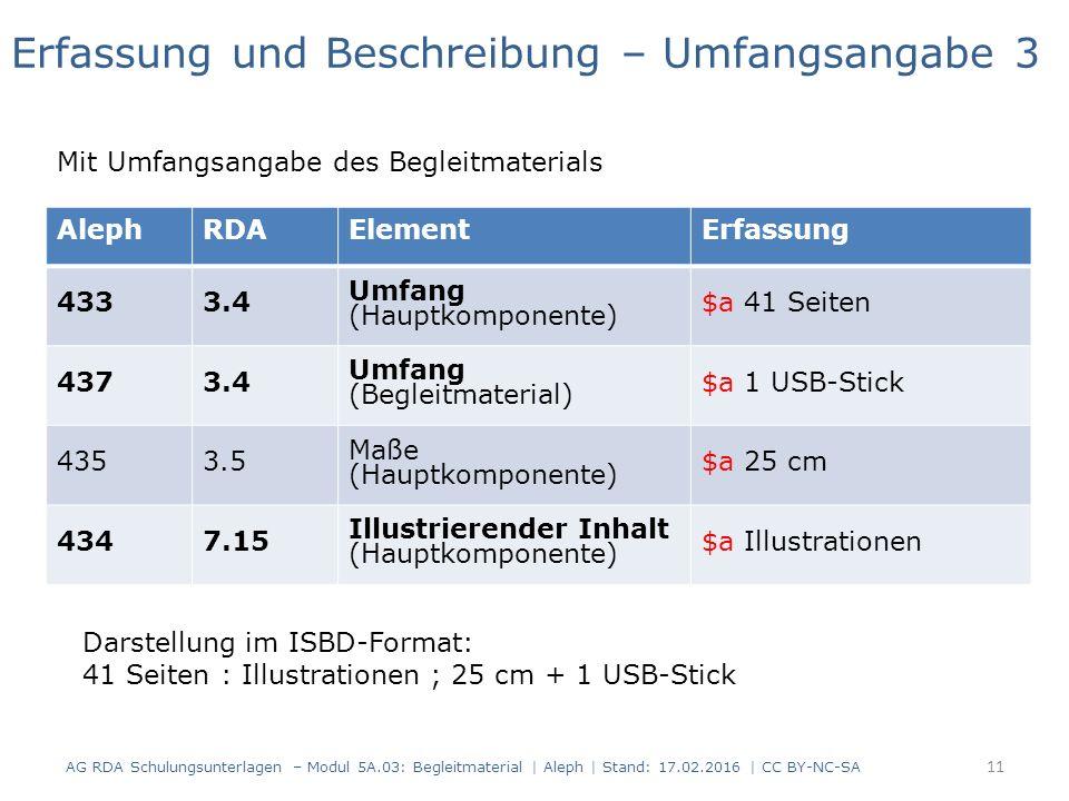 AlephRDAElementErfassung 4333.4 Umfang (Hauptkomponente) $a 41 Seiten 4373.4 Umfang (Begleitmaterial) $a 1 USB-Stick 4353.5 Maße (Hauptkomponente) $a 25 cm 4347.15 Illustrierender Inhalt (Hauptkomponente) $a Illustrationen Erfassung und Beschreibung – Umfangsangabe 3 Mit Umfangsangabe des Begleitmaterials Darstellung im ISBD-Format: 41 Seiten : Illustrationen ; 25 cm + 1 USB-Stick AG RDA Schulungsunterlagen – Modul 5A.03: Begleitmaterial | Aleph | Stand: 17.02.2016 | CC BY-NC-SA 11