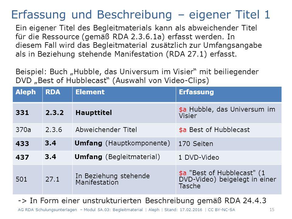 AlephRDAElementErfassung 3312.3.2Haupttitel $a Hubble, das Universum im Visier 370a2.3.6Abweichender Titel$a Best of Hubblecast 433 3.4Umfang (Hauptkomponente) 170 Seiten 437 3.4Umfang (Begleitmaterial) 1 DVD-Video 50127.1 In Beziehung stehende Manifestation $a Best of Hubblecast (1 DVD-Video) beigelegt in einer Tasche Erfassung und Beschreibung – eigener Titel 1 Ein eigener Titel des Begleitmaterials kann als abweichender Titel für die Ressource (gemäß RDA 2.3.6.1a) erfasst werden.