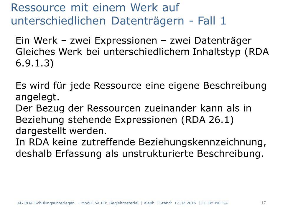 Ressource mit einem Werk auf unterschiedlichen Datenträgern - Fall 1 Ein Werk – zwei Expressionen – zwei Datenträger Gleiches Werk bei unterschiedlichem Inhaltstyp (RDA 6.9.1.3) Es wird für jede Ressource eine eigene Beschreibung angelegt.