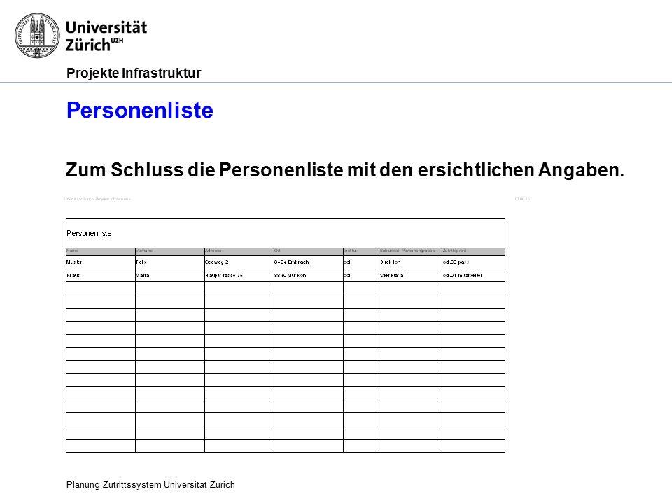 Projekte Infrastruktur Personenliste Planung Zutrittssystem Universität Zürich Zum Schluss die Personenliste mit den ersichtlichen Angaben.