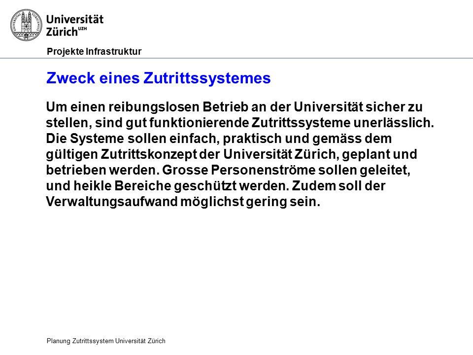 Projekte Infrastruktur Zweck eines Zutrittssystemes Planung Zutrittssystem Universität Zürich Um einen reibungslosen Betrieb an der Universität sicher zu stellen, sind gut funktionierende Zutrittssysteme unerlässlich.