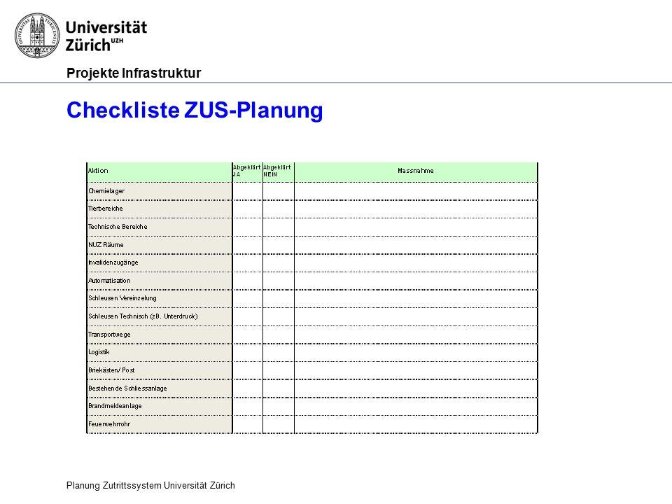 Projekte Infrastruktur Checkliste ZUS-Planung Planung Zutrittssystem Universität Zürich