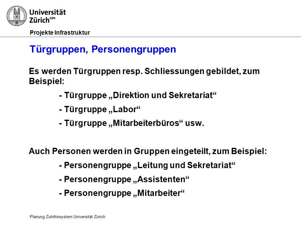 Projekte Infrastruktur Türgruppen, Personengruppen Es werden Türgruppen resp.