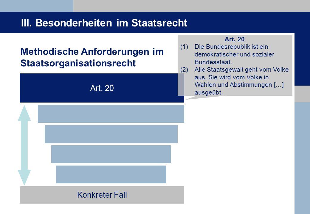 III.Besonderheiten im Staatsrecht Methodische Anforderungen im Staatsorganisationsrecht Art.