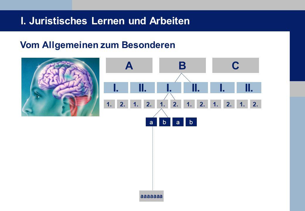 I.Juristisches Lernen und Arbeiten ABC I.II.I.II.I.II.