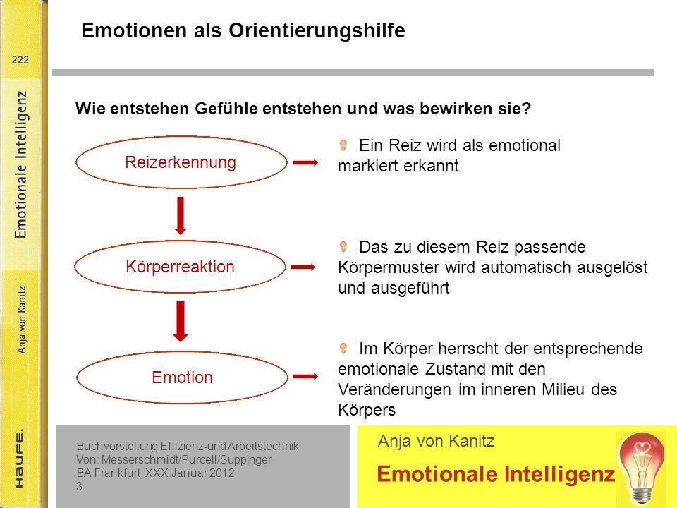 Buchvorstellung Effizienz-und Arbeitstechnik Von: Messerschmidt/Purcell/Suppinger BA Frankfurt; XXX.Januar 2012 2 Emotionale Intelligenz Anja von Kanitz Warum haben wir Gefühle.