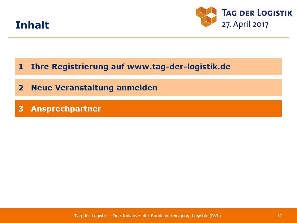 Inhalt 12Tag der Logistik - Eine Initiative der Bundesvereinigung Logistik (BVL) 1 Ihre Registrierung auf www.tag-der-logistik.de 3 Ansprechpartner 2 Neue Veranstaltung anmelden