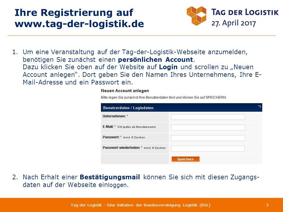 Inhalt 4Tag der Logistik - Eine Initiative der Bundesvereinigung Logistik (BVL) 1 Ihre Registrierung auf www.tag-der-logistik.de 3 Ansprechpartner 2 Neue Veranstaltung anmelden