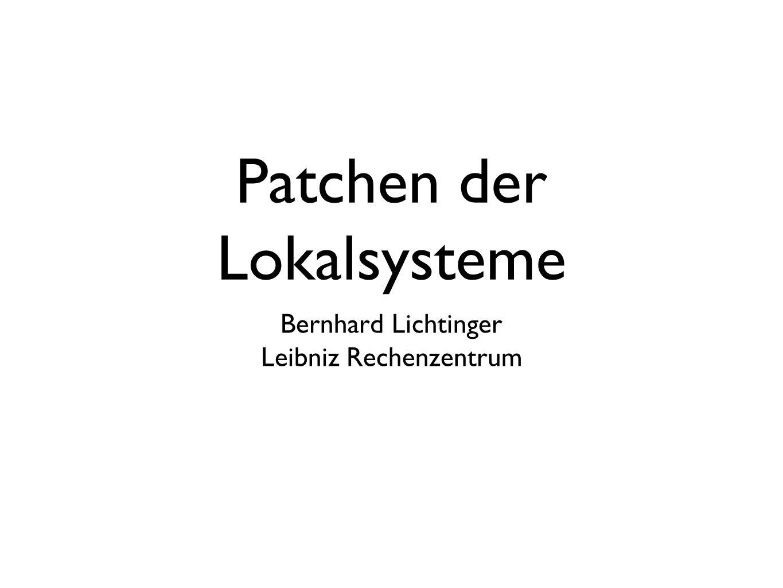 Patchen der Lokalsysteme Bernhard Lichtinger Leibniz Rechenzentrum