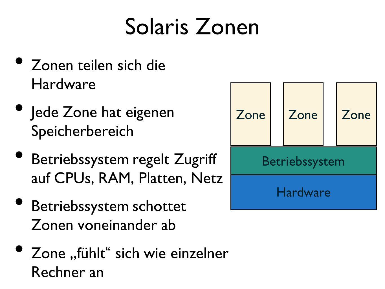 """Solaris Zonen Zonen teilen sich die Hardware Jede Zone hat eigenen Speicherbereich Betriebssystem regelt Zugriff auf CPUs, RAM, Platten, Netz Betriebssystem schottet Zonen voneinander ab Zone """"fühlt sich wie einzelner Rechner an Hardware Betriebssystem Zone"""