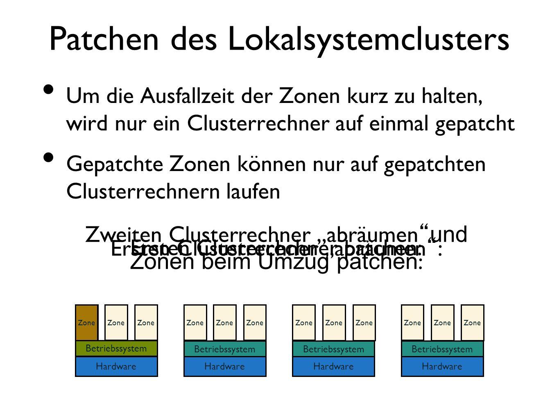 Patchen des Lokalsystemclusters Um die Ausfallzeit der Zonen kurz zu halten, wird nur ein Clusterrechner auf einmal gepatcht Gepatchte Zonen können nu