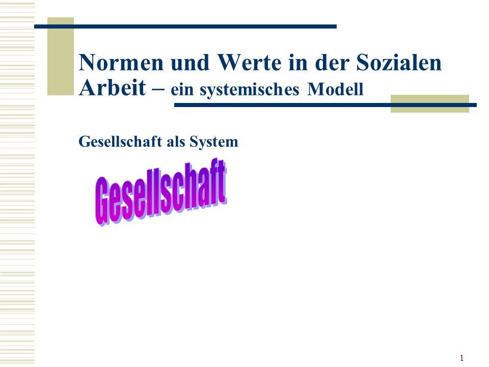 1 Normen und Werte in der Sozialen Arbeit – ein systemisches Modell Gesellschaft als System