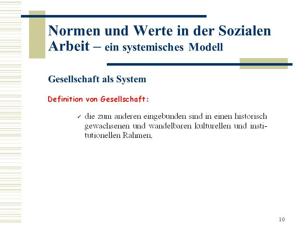 10 Normen und Werte in der Sozialen Arbeit – ein systemisches Modell Gesellschaft als System
