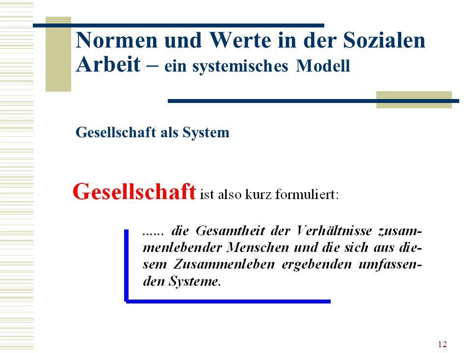 12 Normen und Werte in der Sozialen Arbeit – ein systemisches Modell Gesellschaft als System