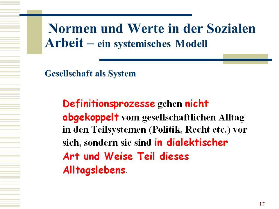 17 Normen und Werte in der Sozialen Arbeit – ein systemisches Modell Gesellschaft als System