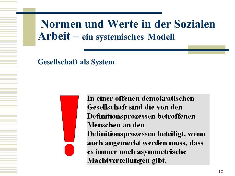 18 Normen und Werte in der Sozialen Arbeit – ein systemisches Modell Gesellschaft als System