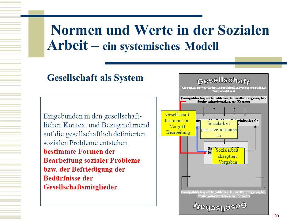 26 Normen und Werte in der Sozialen Arbeit – ein systemisches Modell Gesellschaft als System Eingebunden in den gesellschaft- lichen Kontext und Bezug nehmend auf die gesellschaftlich definierten sozialen Probleme entstehen bestimmte Formen der Bearbeitung sozialer Probleme bzw.