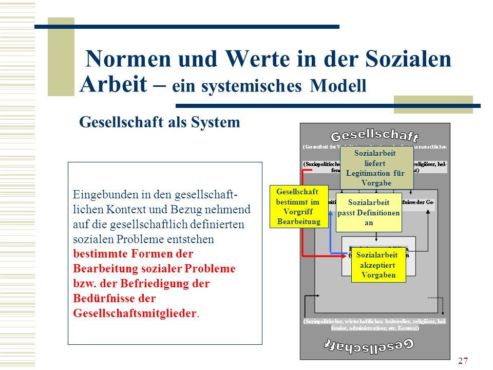27 Normen und Werte in der Sozialen Arbeit – ein systemisches Modell Gesellschaft als System Eingebunden in den gesellschaft- lichen Kontext und Bezug
