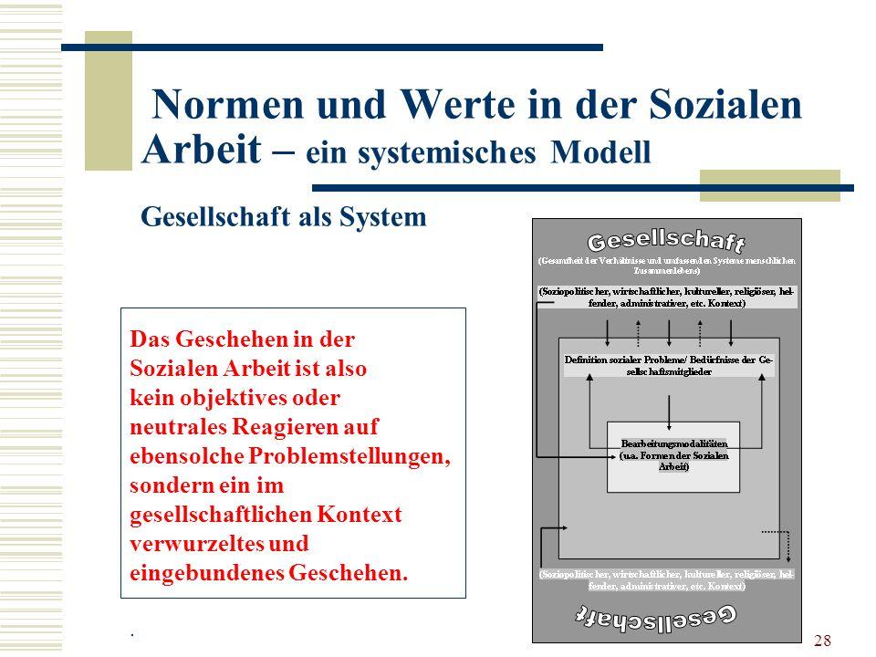 28 Normen und Werte in der Sozialen Arbeit – ein systemisches Modell Gesellschaft als System Das Geschehen in der Sozialen Arbeit ist also kein objektives oder neutrales Reagieren auf ebensolche Problemstellungen, sondern ein im gesellschaftlichen Kontext verwurzeltes und eingebundenes Geschehen..
