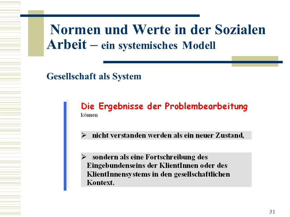 31 Normen und Werte in der Sozialen Arbeit – ein systemisches Modell Gesellschaft als System