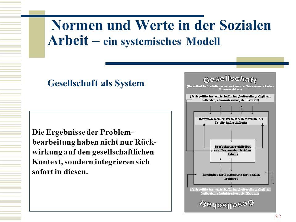 32 Normen und Werte in der Sozialen Arbeit – ein systemisches Modell Gesellschaft als System Die Ergebnisse der Problem- bearbeitung haben nicht nur Rück- wirkung auf den gesellschaftlichen Kontext, sondern integrieren sich sofort in diesen.