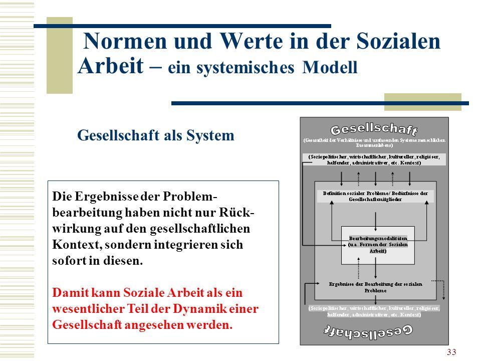 33 Normen und Werte in der Sozialen Arbeit – ein systemisches Modell Gesellschaft als System Die Ergebnisse der Problem- bearbeitung haben nicht nur Rück- wirkung auf den gesellschaftlichen Kontext, sondern integrieren sich sofort in diesen.