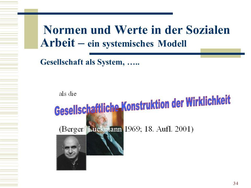 34 Normen und Werte in der Sozialen Arbeit – ein systemisches Modell Gesellschaft als System, …..