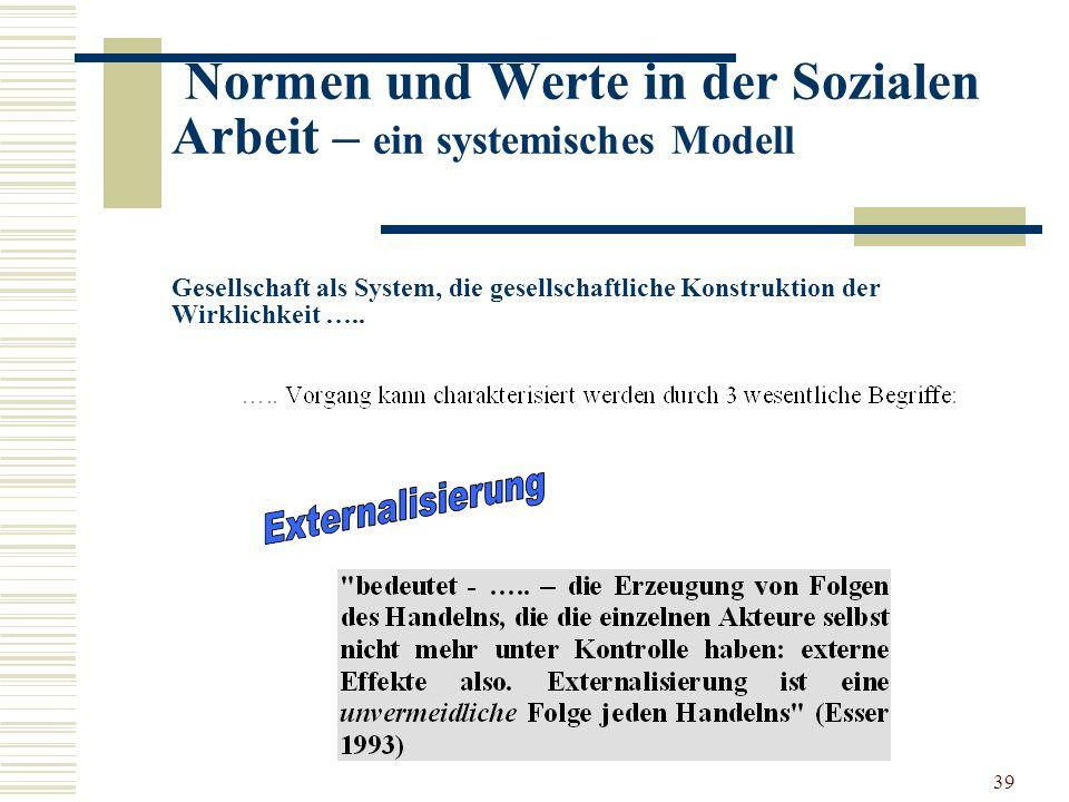 39 Normen und Werte in der Sozialen Arbeit – ein systemisches Modell Gesellschaft als System, die gesellschaftliche Konstruktion der Wirklichkeit …..