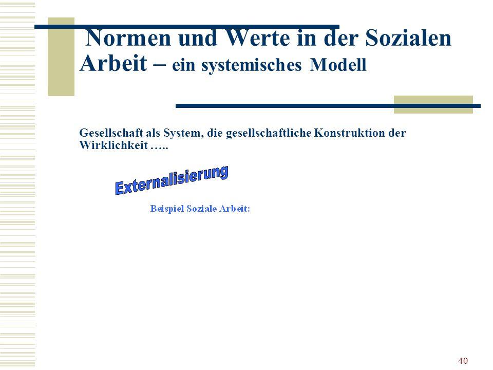 40 Normen und Werte in der Sozialen Arbeit – ein systemisches Modell Gesellschaft als System, die gesellschaftliche Konstruktion der Wirklichkeit …..