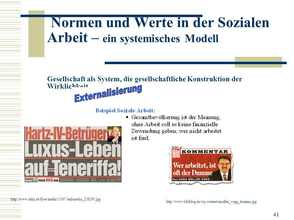 41 Normen und Werte in der Sozialen Arbeit – ein systemisches Modell Gesellschaft als System, die gesellschaftliche Konstruktion der Wirklichkeit …..