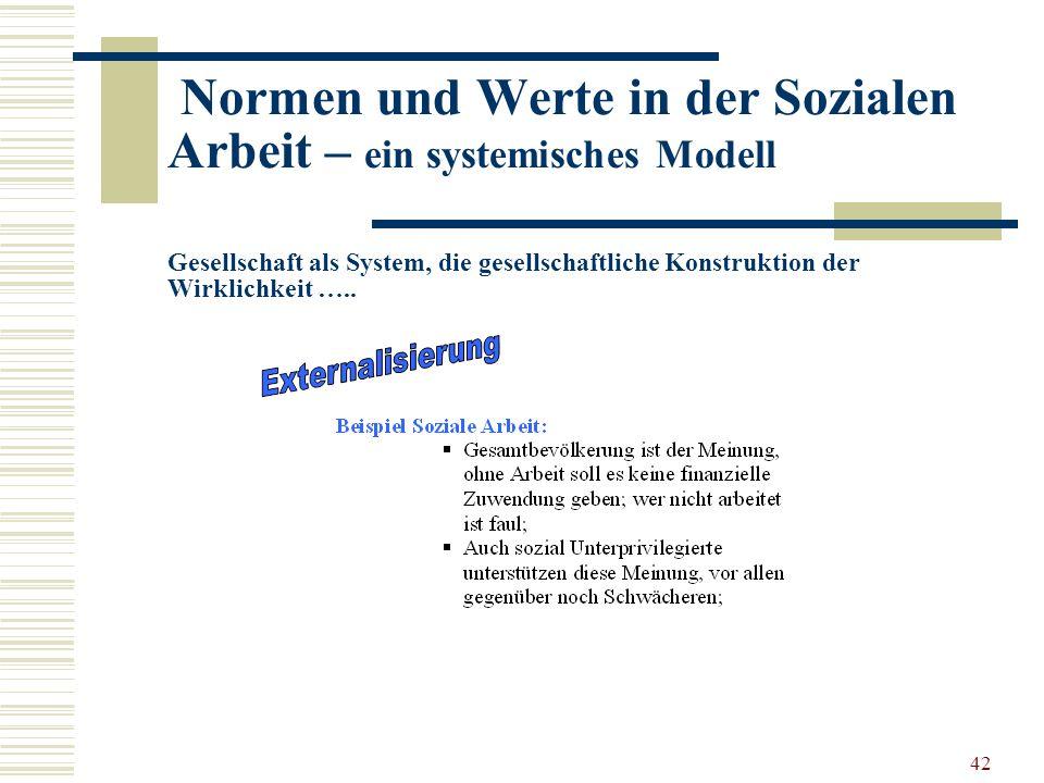 42 Normen und Werte in der Sozialen Arbeit – ein systemisches Modell Gesellschaft als System, die gesellschaftliche Konstruktion der Wirklichkeit …..