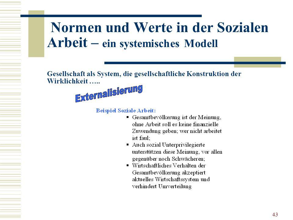 43 Normen und Werte in der Sozialen Arbeit – ein systemisches Modell Gesellschaft als System, die gesellschaftliche Konstruktion der Wirklichkeit …..