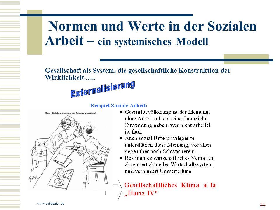 44 Normen und Werte in der Sozialen Arbeit – ein systemisches Modell Gesellschaft als System, die gesellschaftliche Konstruktion der Wirklichkeit …..