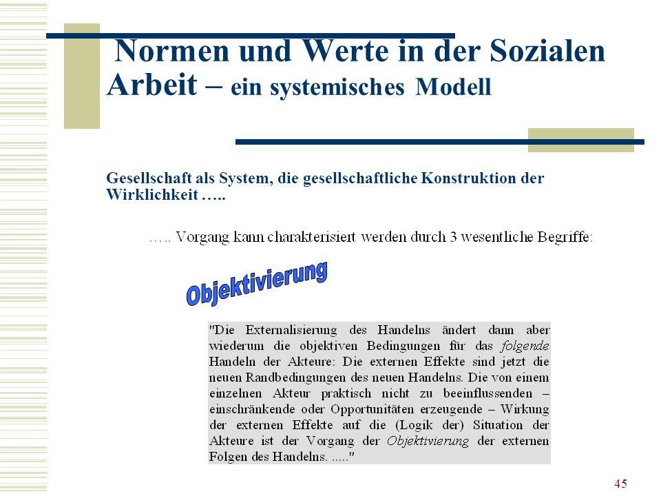 45 Normen und Werte in der Sozialen Arbeit – ein systemisches Modell Gesellschaft als System, die gesellschaftliche Konstruktion der Wirklichkeit …..