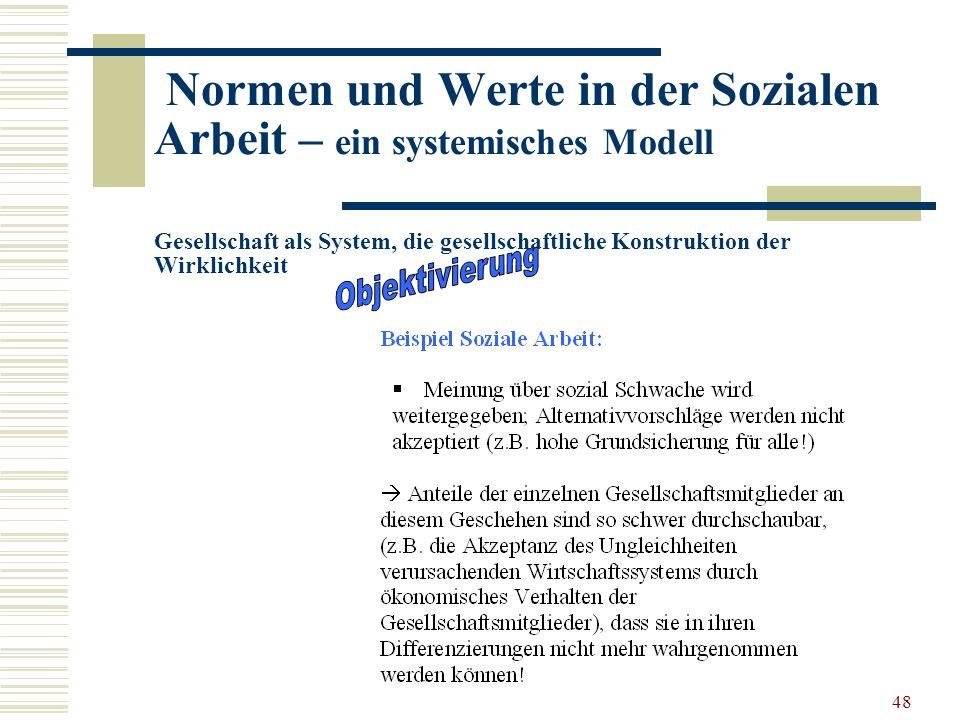 48 Normen und Werte in der Sozialen Arbeit – ein systemisches Modell Gesellschaft als System, die gesellschaftliche Konstruktion der Wirklichkeit …..