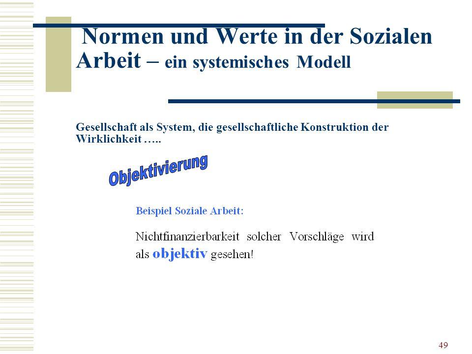 49 Normen und Werte in der Sozialen Arbeit – ein systemisches Modell Gesellschaft als System, die gesellschaftliche Konstruktion der Wirklichkeit …..